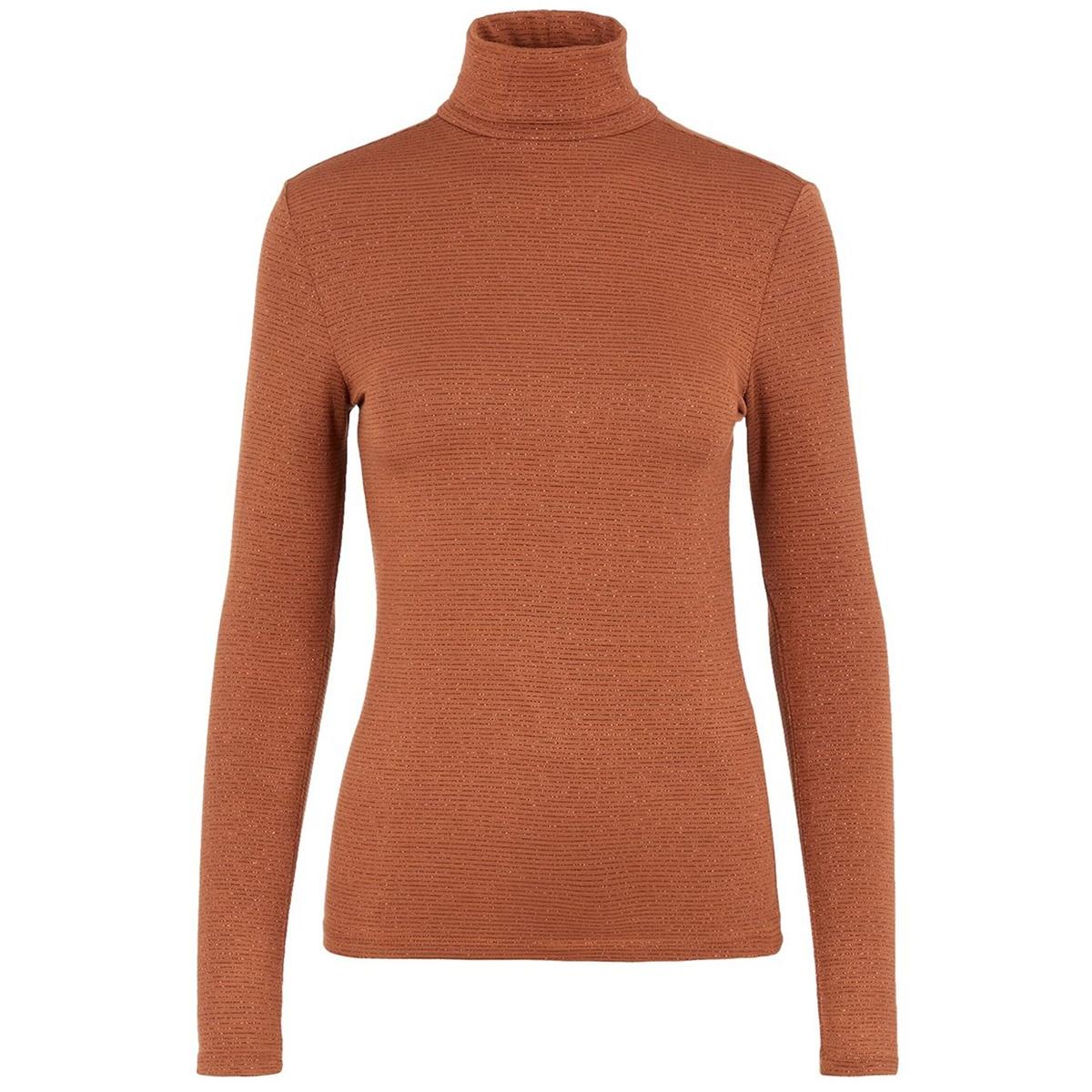 pcbillo ls rollneck lurex stripes t 17100254 pieces t-shirt mocha bisque/copper lurex