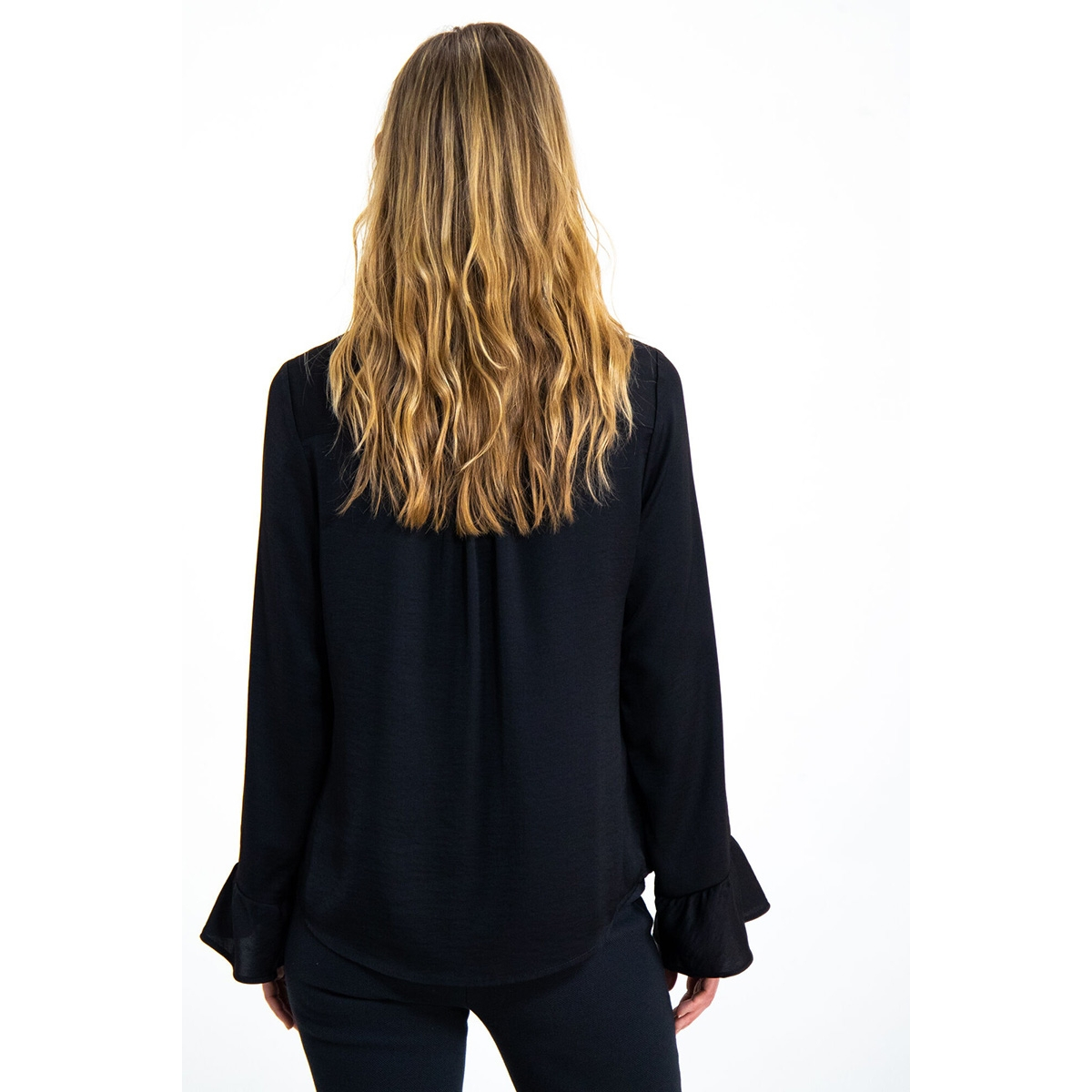 blouse met trompetmouwen gs900730 garcia blouse 60 black