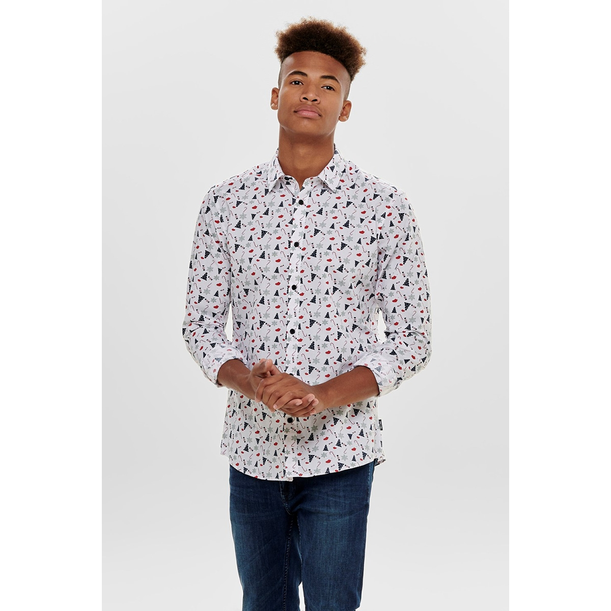 onselham ls x-mas aop shirt 22014547 only & sons overhemd white