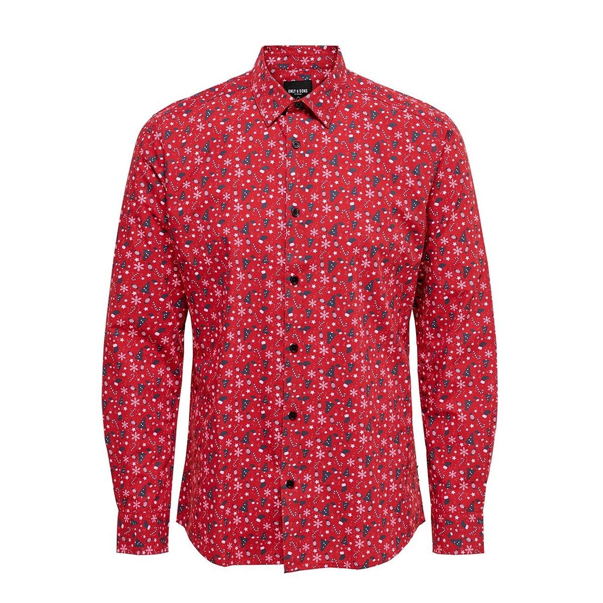 onselham ls x-mas aop shirt 22014547 jack & jones overhemd pompeian red