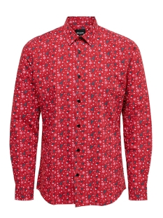 Only & Sons Overhemd onsELHAM LS X-MAS AOP SHIRT 22014547 Pompeian Red