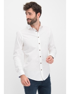 Haze & Finn Overhemd SHIRT SOLID STRETCH ME 0103 WHITE