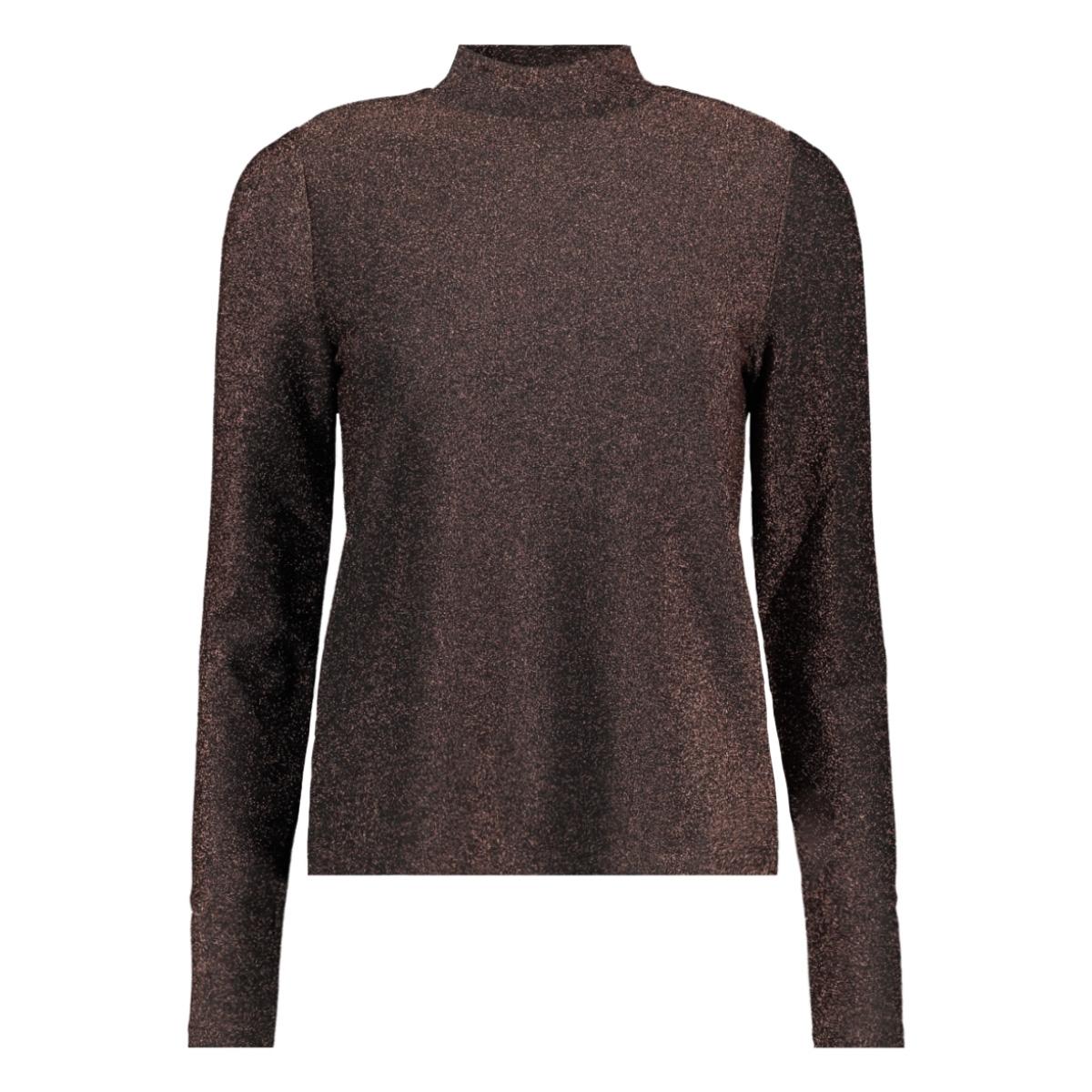 pcinfina ls t-neck top 17099453 pieces t-shirt black/copper lur