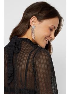 pcjette ls glitter t-neck top camp 17100102 pieces t-shirt black/silver lurex