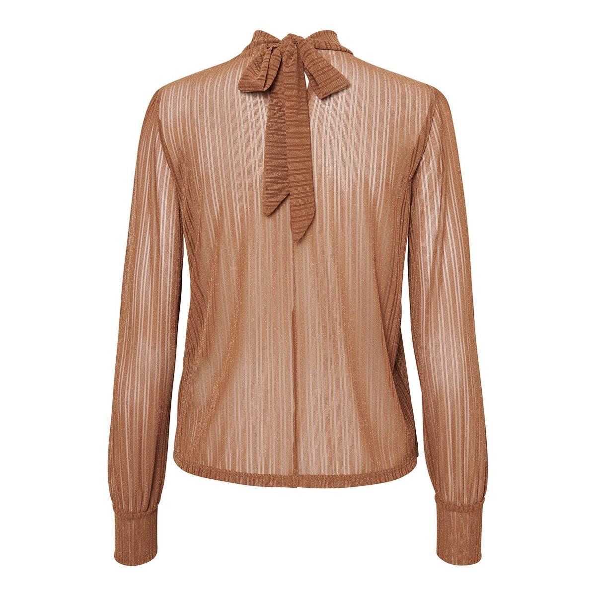 pcjette ls glitter t-neck top camp 17100102 pieces t-shirt mocha bisque/silver lurex