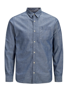 jprwesley mix shirt l/s one pocket 12162061 jack & jones overhemd faded denim