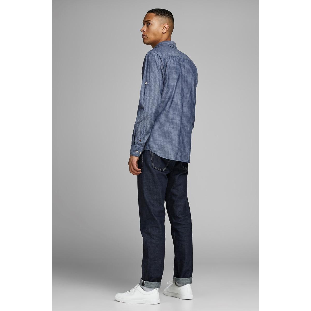 jprwesley mix shirt l/s one pocket 12162061 jack & jones overhemd faded denim