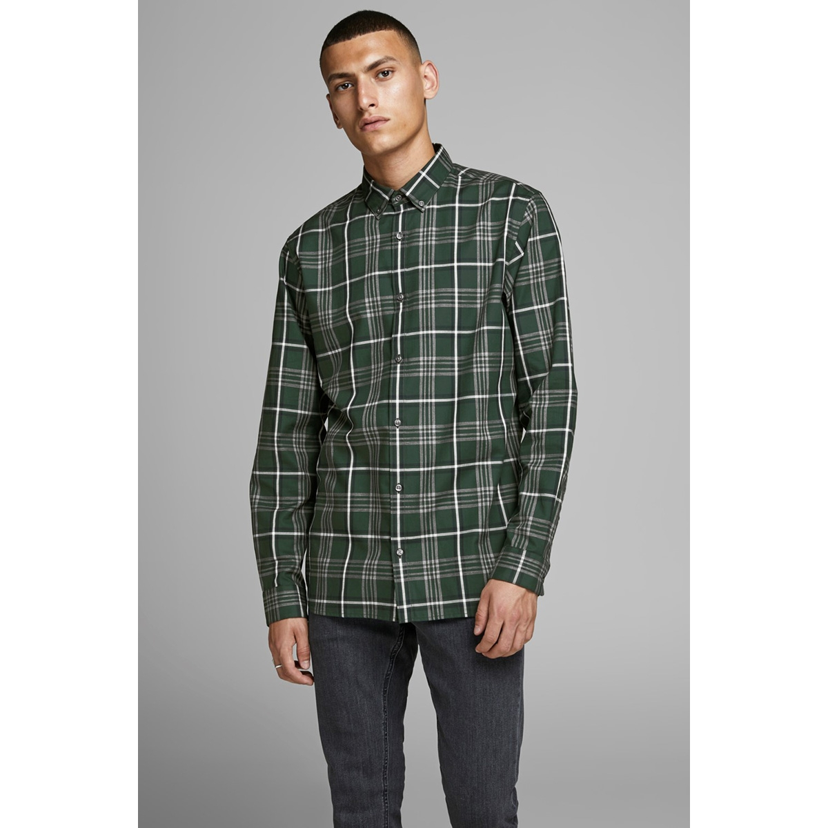 jprfocus check shirt l/s 12162325 jack & jones overhemd darkest spruce/slim