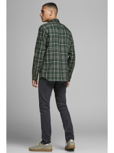 jprfocus check shirt l/s 12162325 jack & jones overhemd darkest spruce/slim