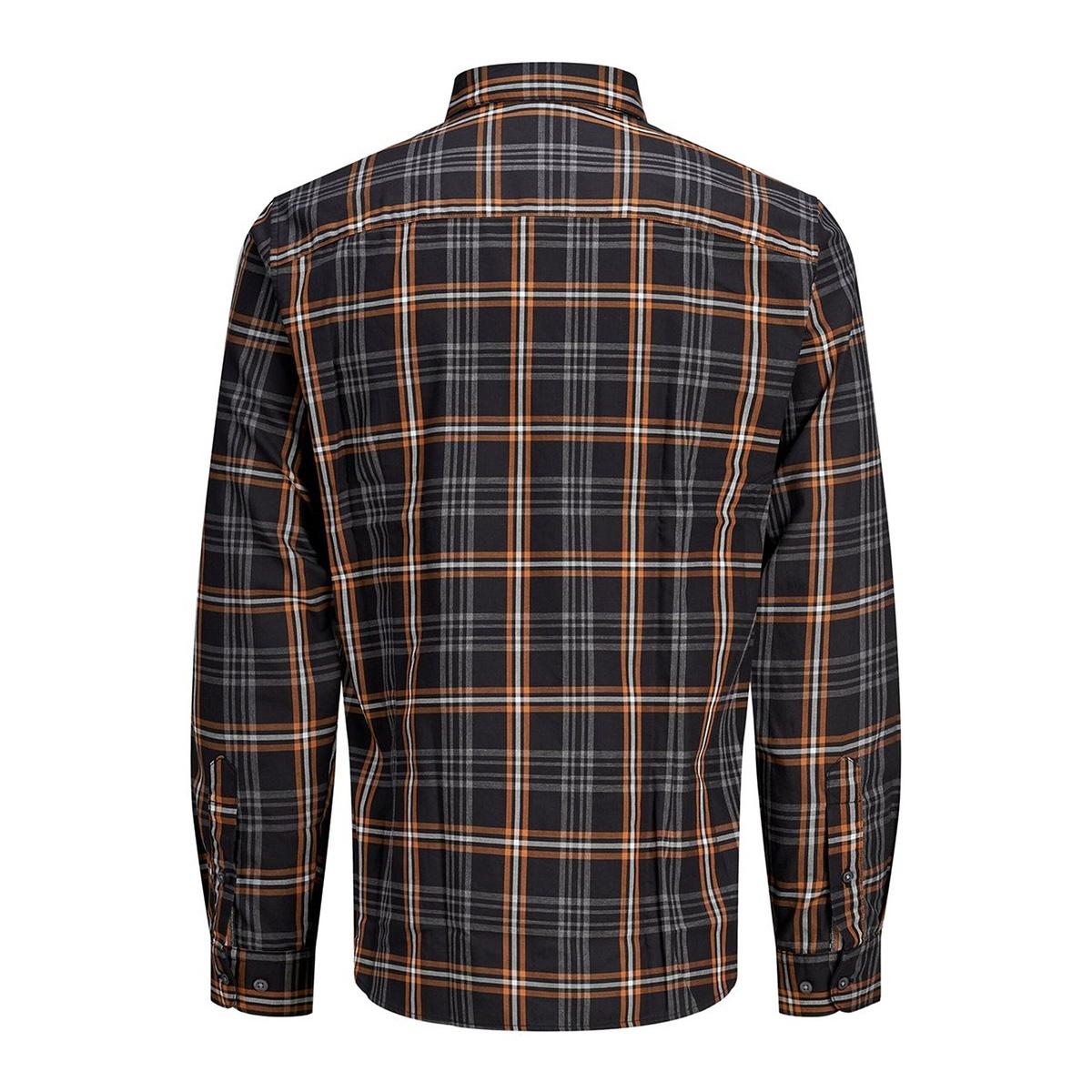 jprfocus check shirt l/s 12162325 jack & jones overhemd black