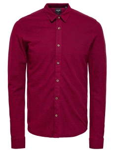 Only & Sons Overhemd ONSCUTON LS KNITTED MELANGE SHIRT C 22015924 Barbados Cherry