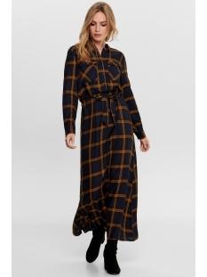 Jacqueline de Yong Jurk JDYCHECKY L/S LONG DRESS DENIM WVN 15196618 Black/DARK BLUE