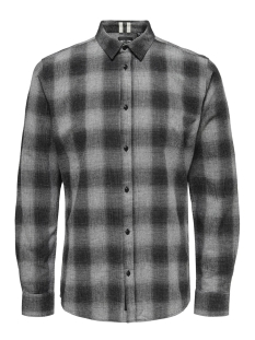 Only & Sons Overhemd onsEWAN LS SHADOW CHECK SHIRT 22014534 Medium Grey Melange