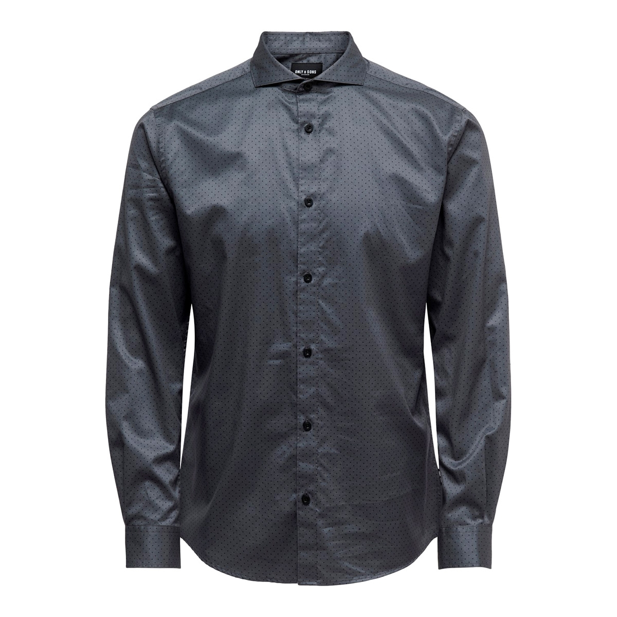 onsalves ls 2-ply aw simple aop shirt 22015030 only & sons overhemd grey pinstripe