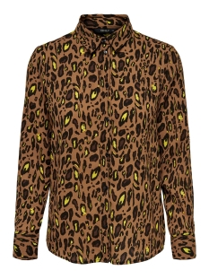 onlsenora l/s shirt wvn 15194091 only blouse toasted coconut/neon