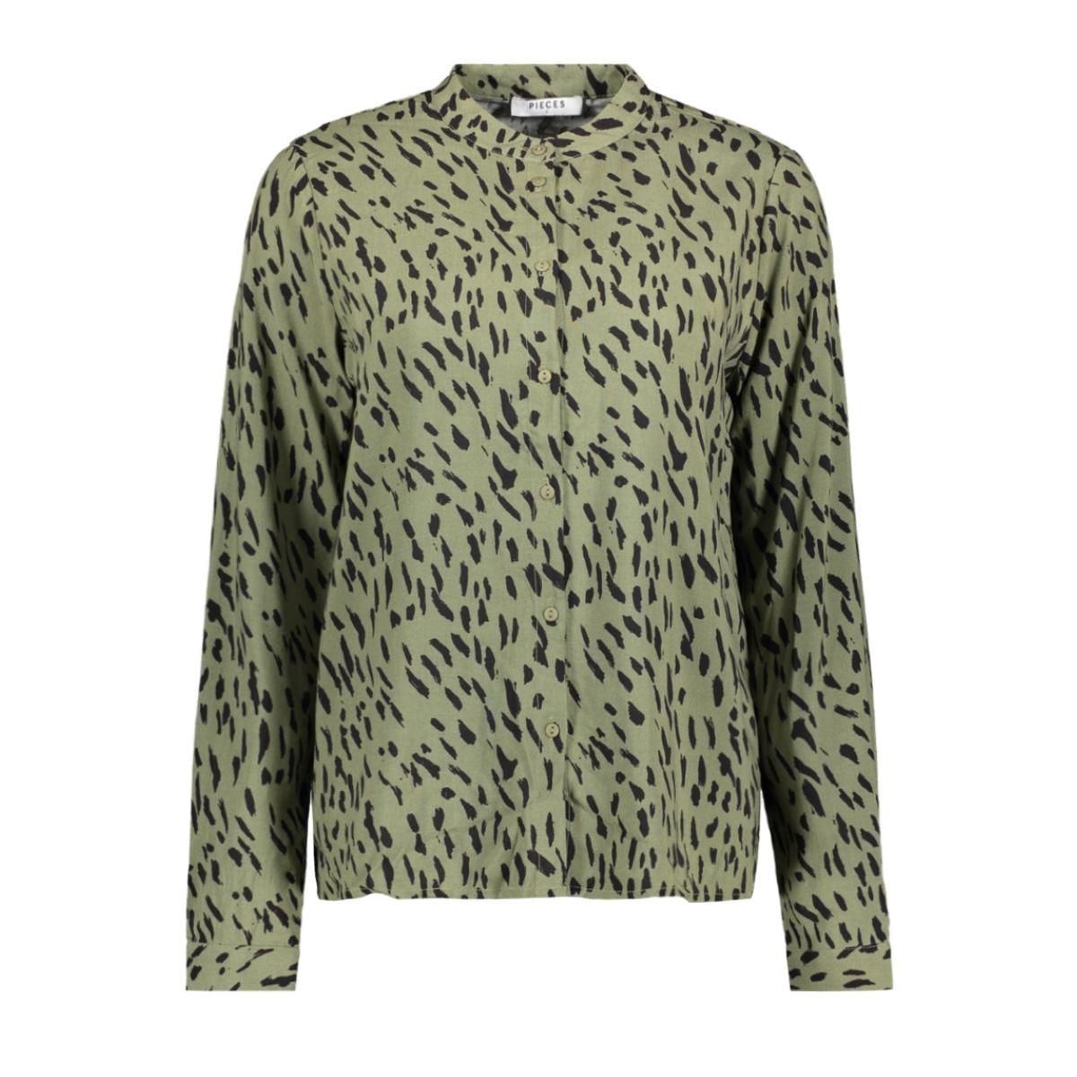 pckaitlyn ls shirt bf 17102254 pieces blouse deep lichen green/animal dot