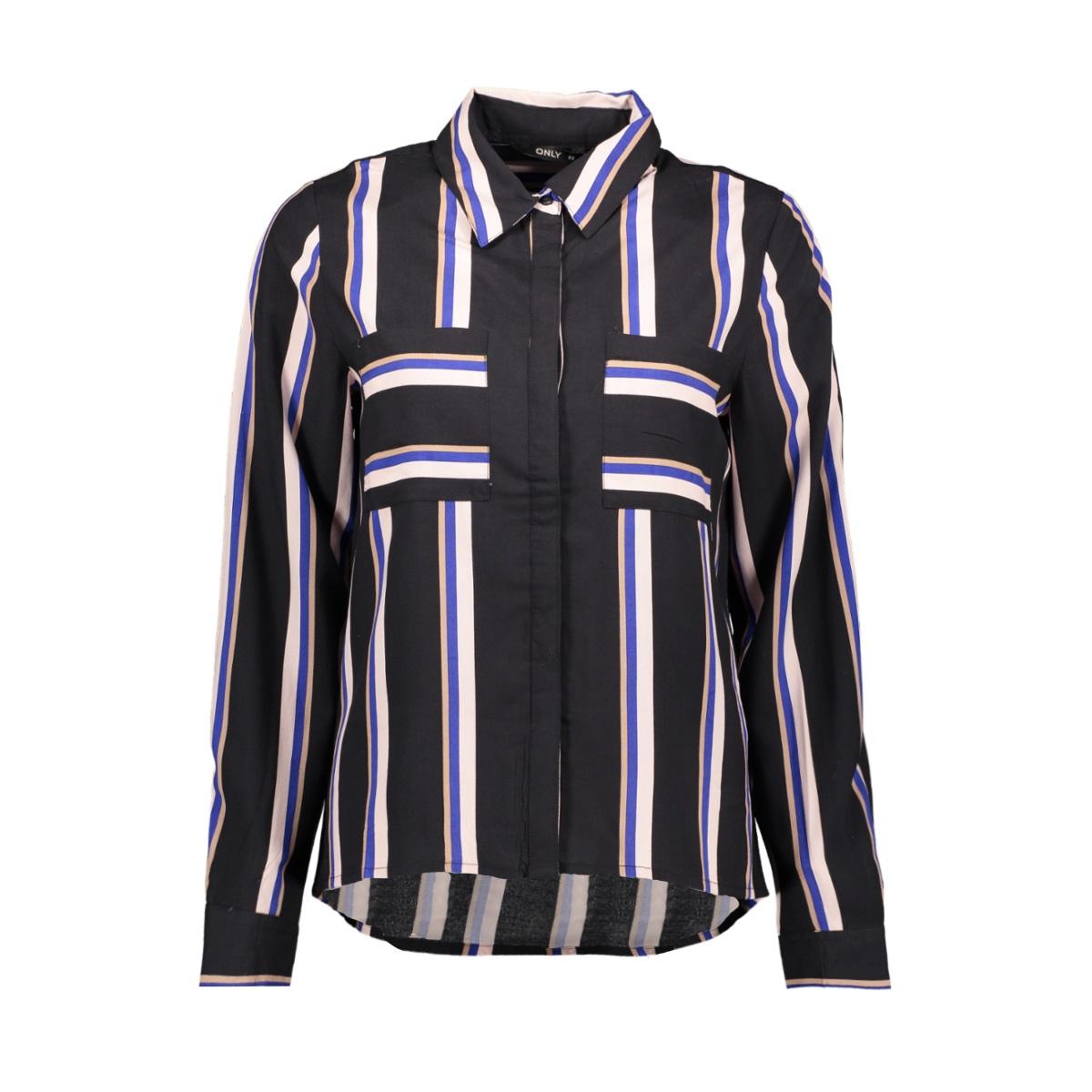 onlmai l/s shirt wvn 15191629 only blouse black/cool stripe