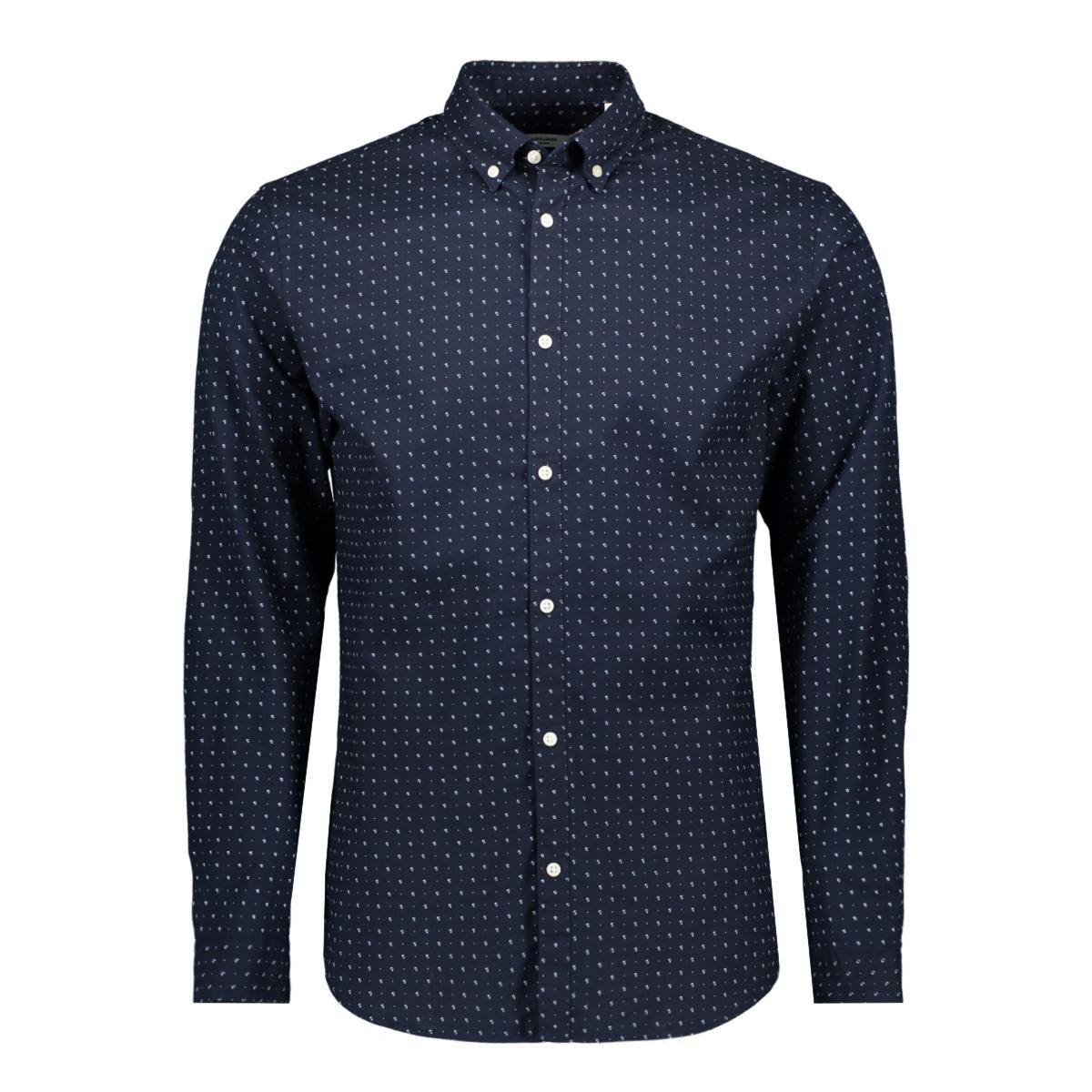 jprblalogo stretch aop shirt l/s 12169911 jack & jones overhemd navy blazer/slim fit