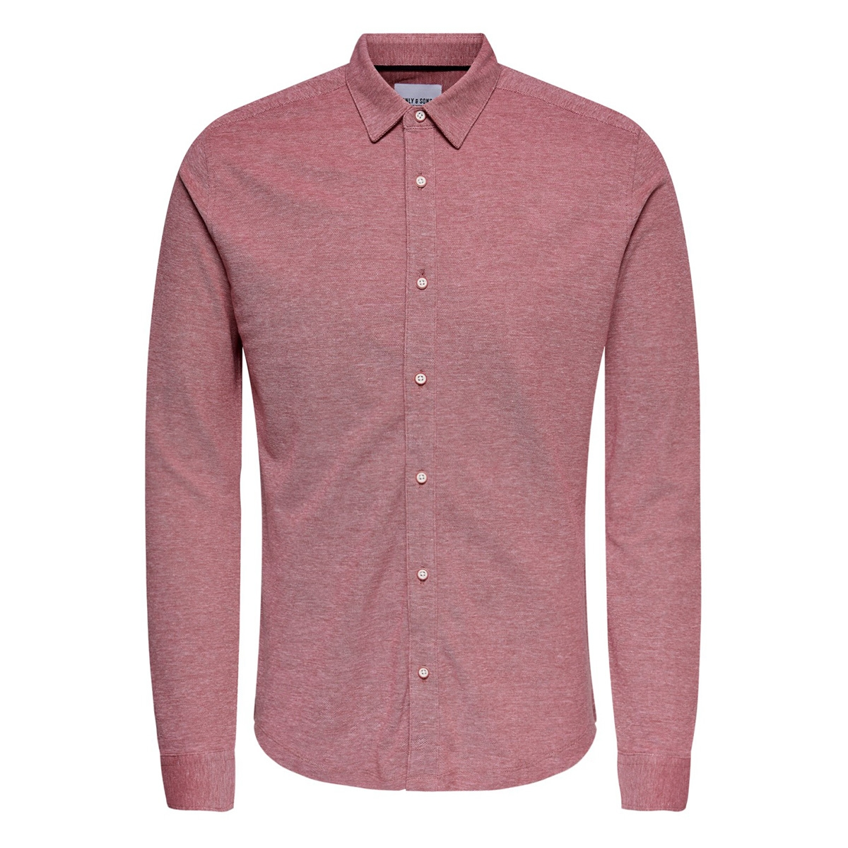 onscuton ls knitted melange shirt re 22009904 only & sons overhemd pompeian red