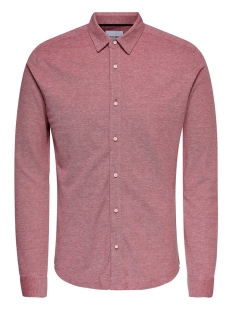 Only & Sons Overhemd ONSCUTON LS KNITTED MELANGE SHIRT RE 22009904 Pompeian Red