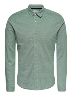 Only & Sons Overhemd ONSCUTON LS KNITTED MELANGE SHIRT RE 22009904 Medium Green