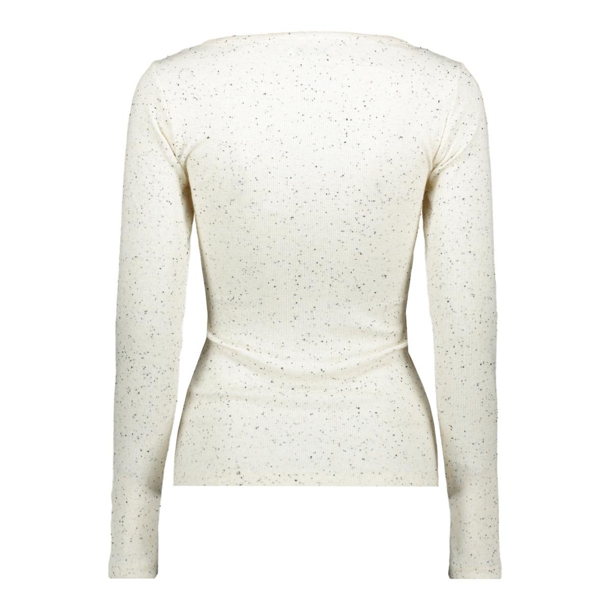 pcnolo ls henley top 17101490 pieces t-shirt cloud dancer/black