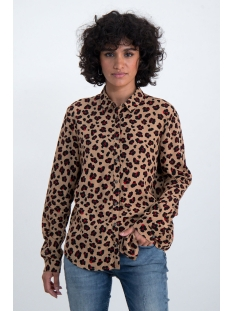 Garcia Blouse BLOUSE MET ALL OVER PANTER PRINT N00230 1236 SAFARI BROWN
