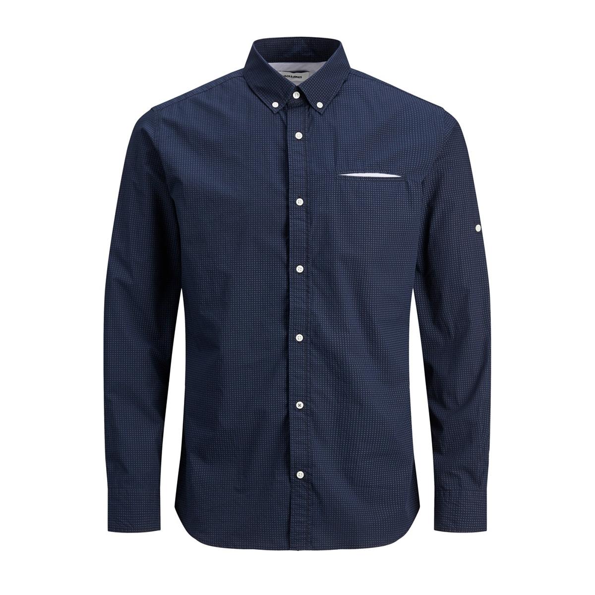 jjetape detail shirt l/s s20 sts 12166546 jack & jones overhemd navy blazer/slim fit