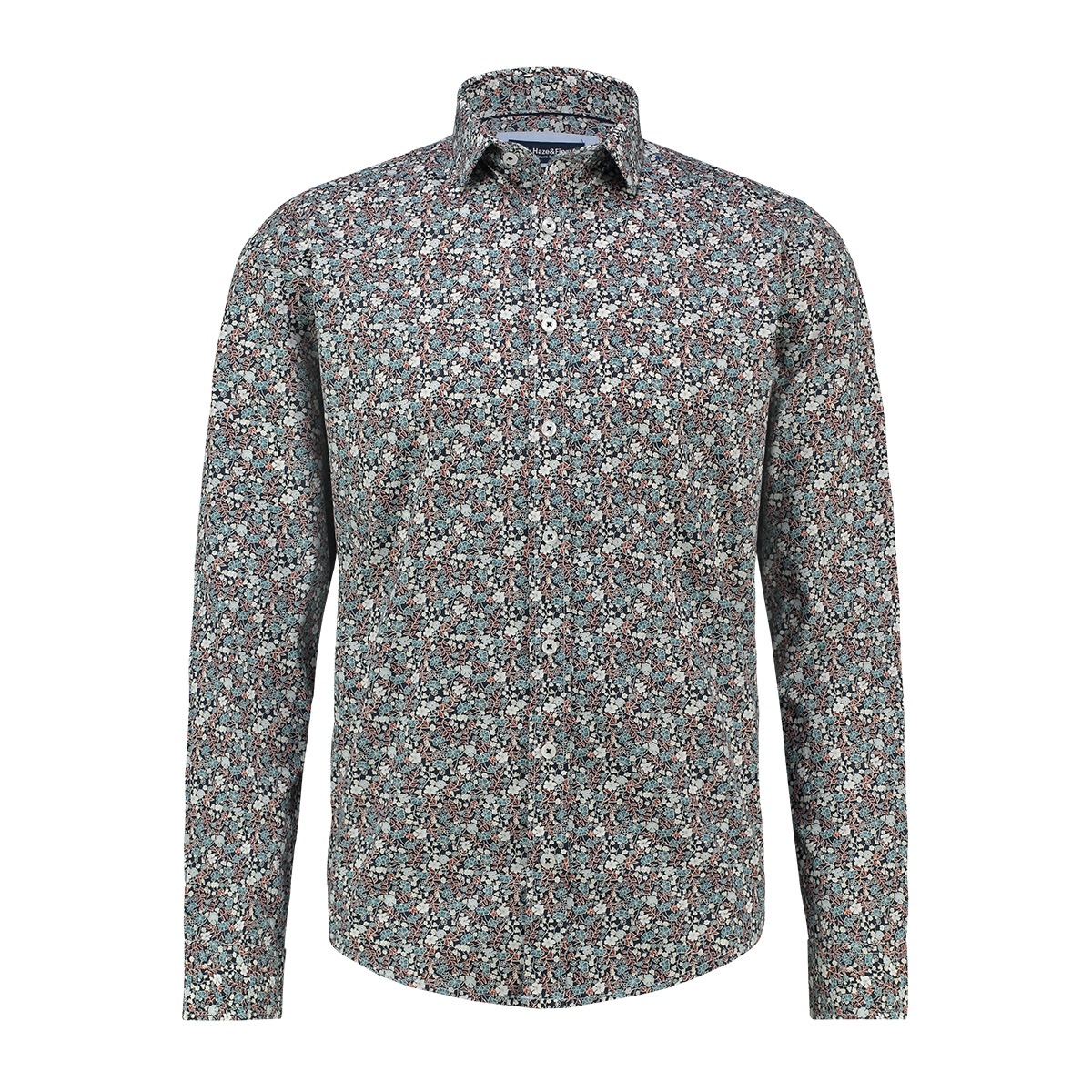 shirt aop stretch mc13 0100 05 haze & finn overhemd indigo floral