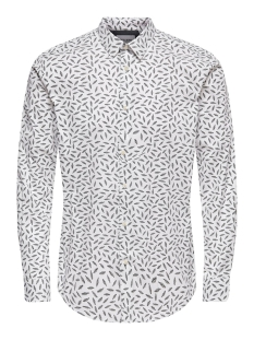 Only & Sons Overhemd ONSHOGAN LS PRINTED STRETCH SHIRT C 22016453 White
