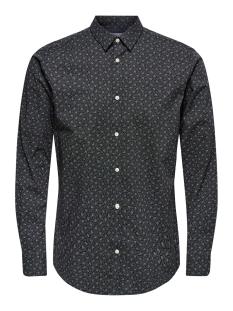 onshogan ls printed stretch shirt c 22016453 only & sons overhemd black