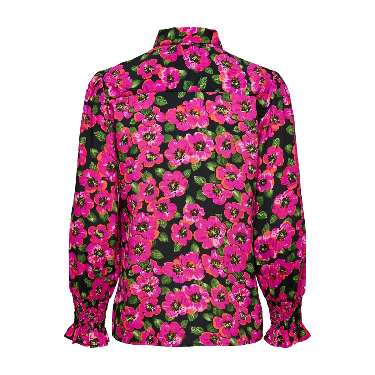onlbella l/s smock cuff shirt wvn 15207362 only blouse black/pink flower