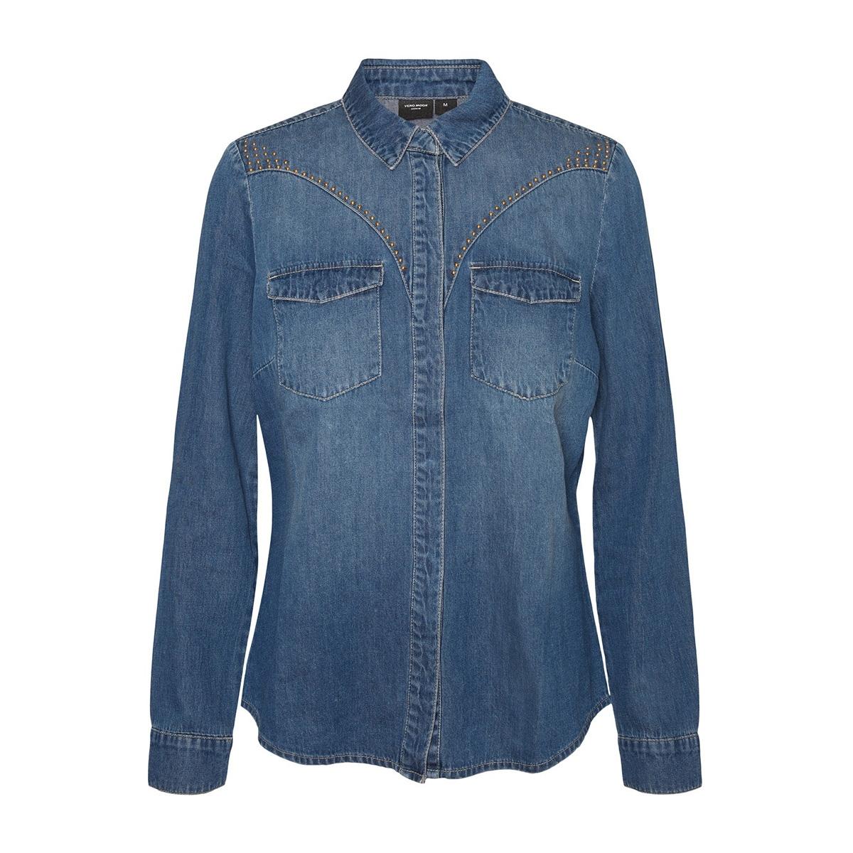 vmmaria ls slim stud denim shirt lc 10228653 vero moda blouse medium blue denim