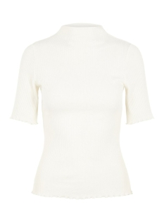 pcnukisa 2/4 mock neck top bc 17101836 pieces t-shirt cloud dancer