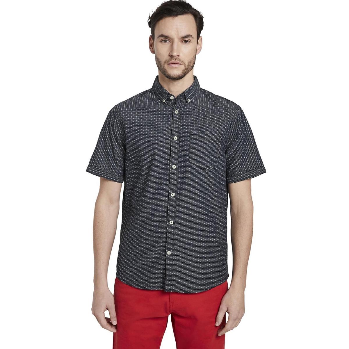 shirt met korte mouwen en strepen 1017787xx10 tom tailor overhemd 22284
