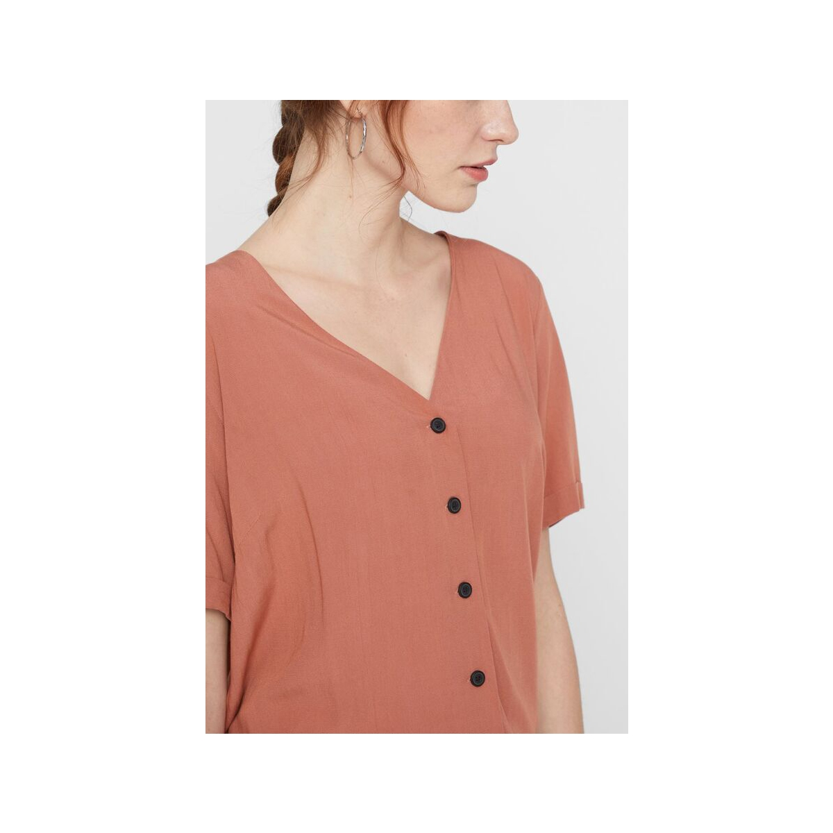 pccecilie ss top noos bc 17100686 pieces blouse copper brown