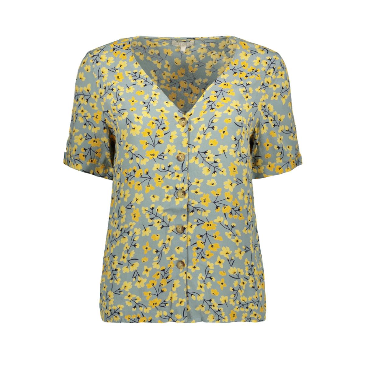 pccoya ss top 17097410 pieces blouse slate/slate-yellow