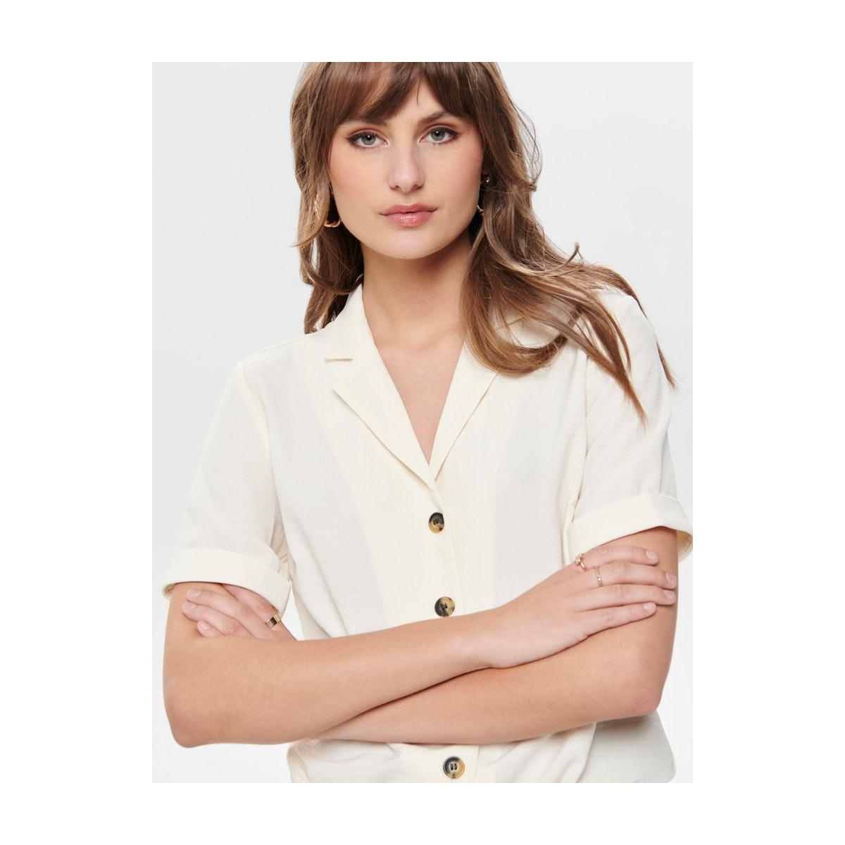 onlsky s/s shirt solid wvn 15181018 only blouse eggnog