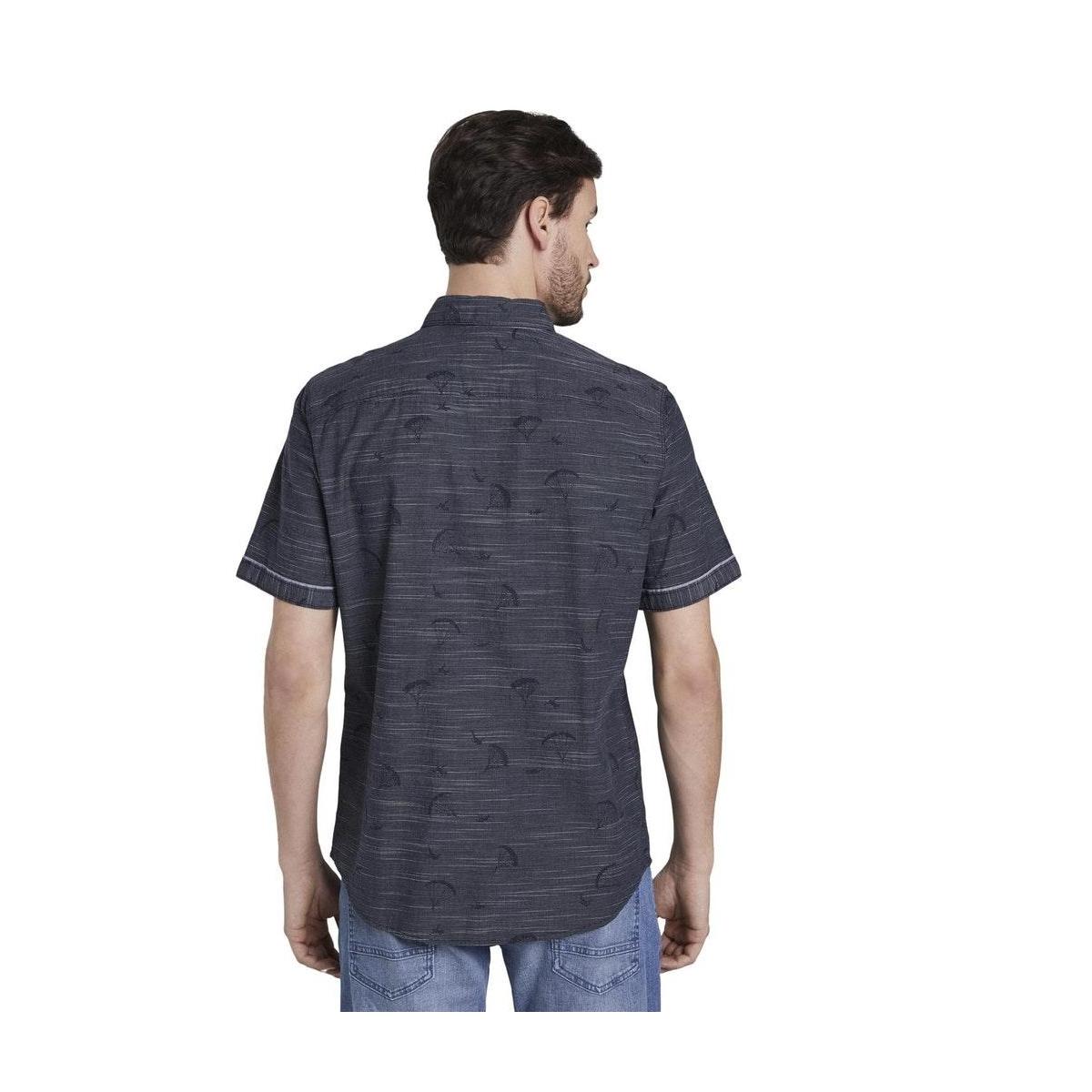 fijn gestreept shirt met korte mouwen 1017783xx10 tom tailor overhemd 22960