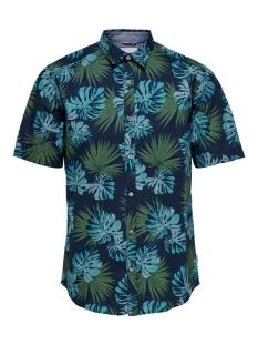 onstimothy ss floral shirt re 22012326 only & sons overhemd dark blue
