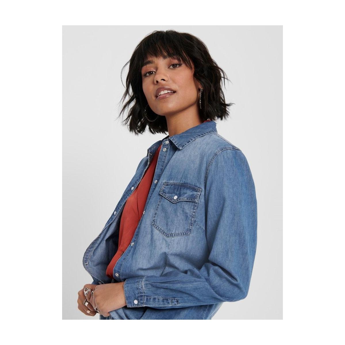 jdysigga l/s shirt denim wvn noos 15200740 jacqueline de yong blouse medium blue denim