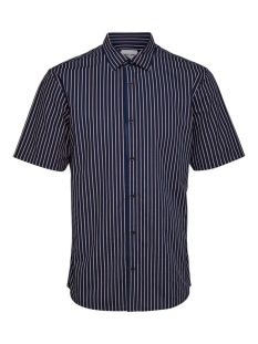 Only & Sons Overhemd ONSSANE SS STRIPED POPLIN SHIRT 22015476 Dress Blues