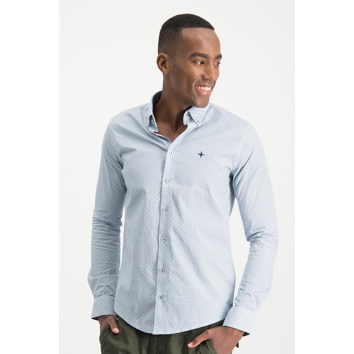 shirt aop regular mc13 0110 02 haze & finn overhemd blue argyle