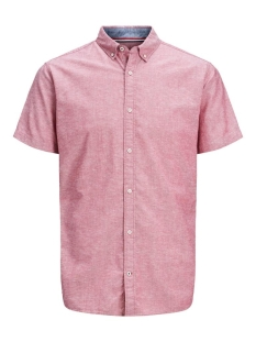 jjesummer shirt s/s s20 sts 12163857 jack & jones overhemd rio red/slim fit