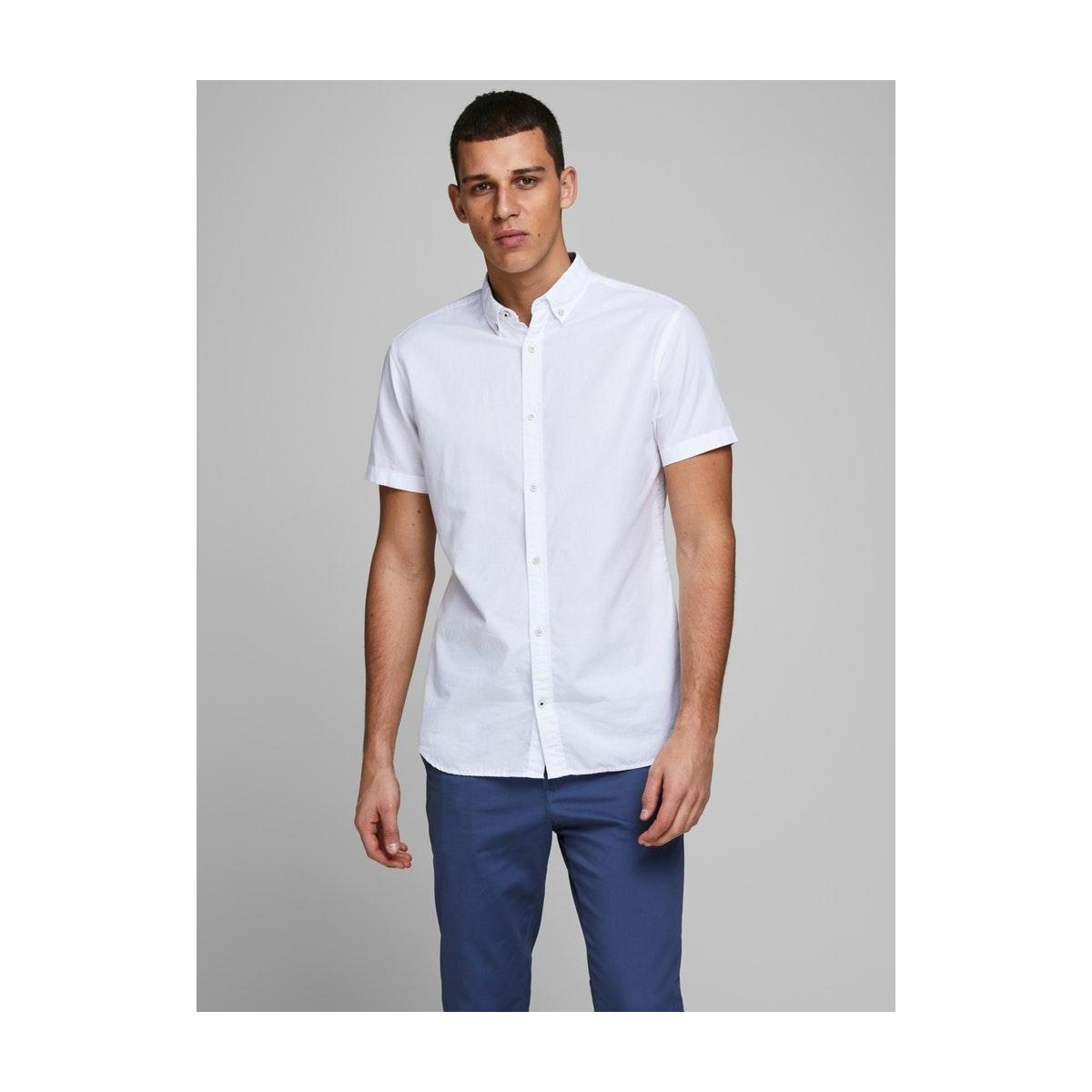 jjesummer shirt s/s s20 sts 12163857 jack & jones overhemd white/slim fit