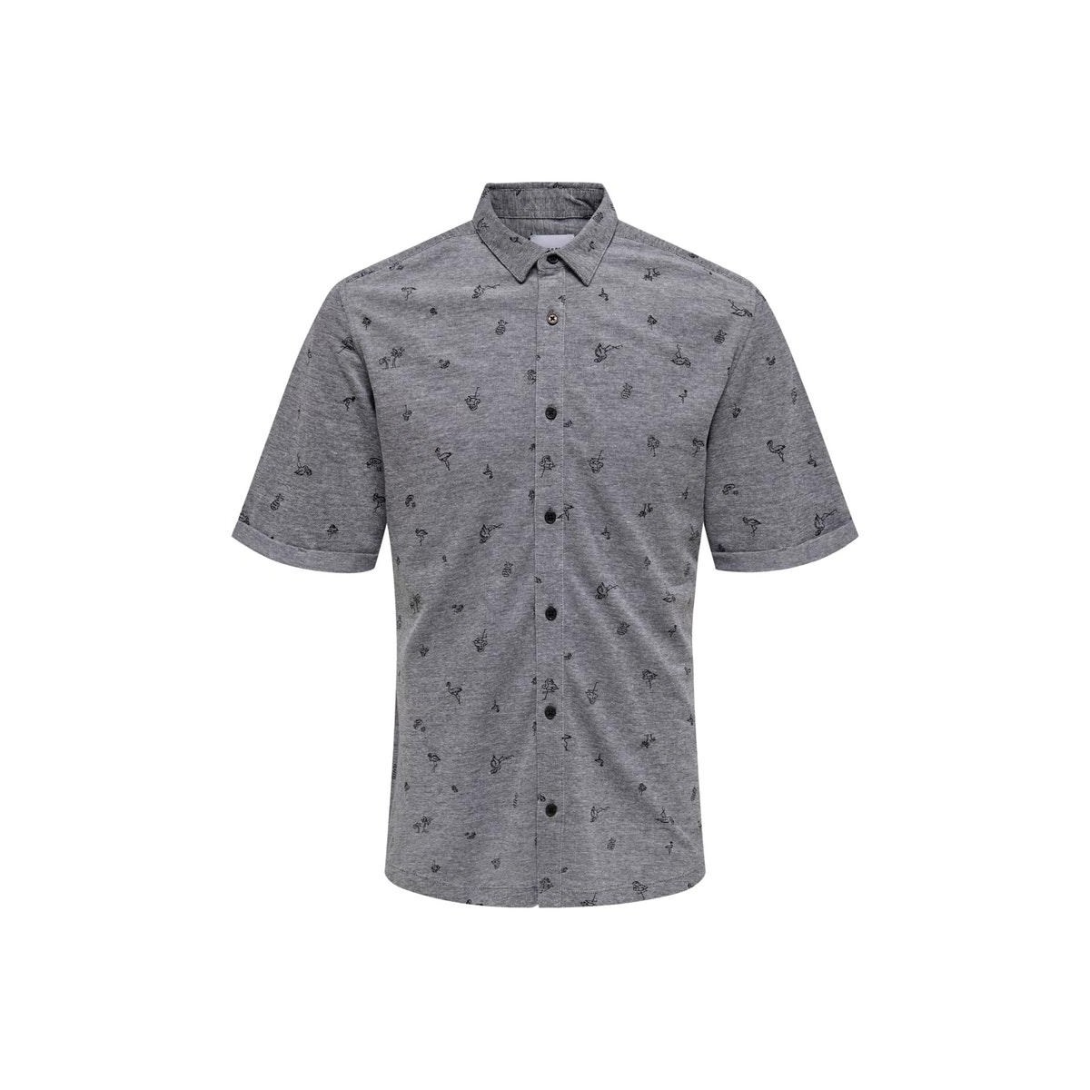 onscuton ss knitted pique aop shirt 22013293 only & sons overhemd black