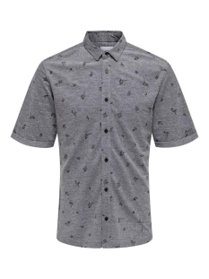 Only & Sons Overhemd onsCUTON SS KNITTED PIQUE AOP SHIRT 22013293 Black