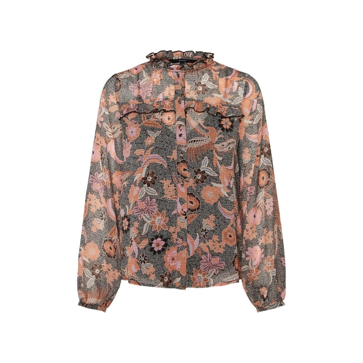 vmnuka l/s shirt wvn 10230393 vero moda blouse carnelian/nuka
