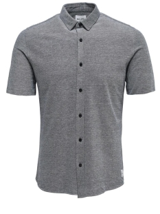 onscuton ss knitted melange shirt r 22011833 only & sons overhemd black