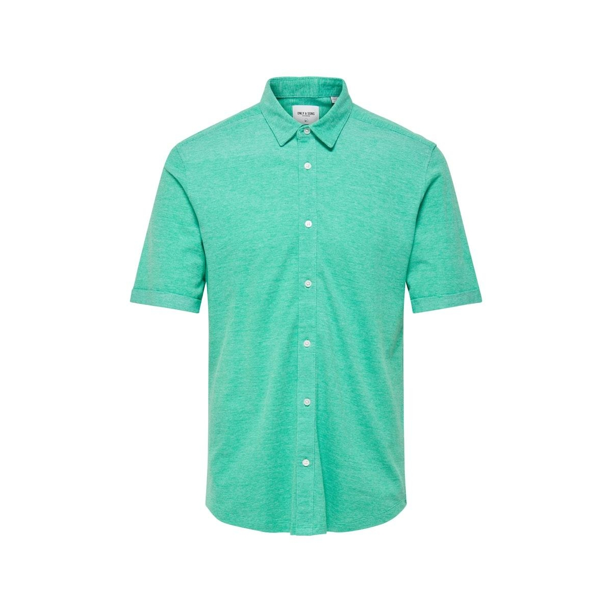 onscuton ss knitted melange shirt r 22011833 only & sons overhemd greenlake